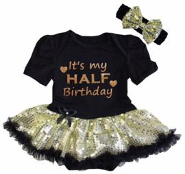Baby  jurk zwart It's My Half Birthday goud glitter + haarband korte mouw