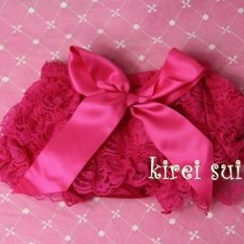 Luierbroekje kant pink/pink strik