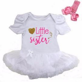 Babyjurk Little Sister lang/korte mouw wit + haarband