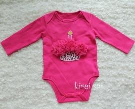 Baby romper pink Cupcake luipaard pink rozetten lange mouw