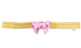 Haarband goud strikje roze