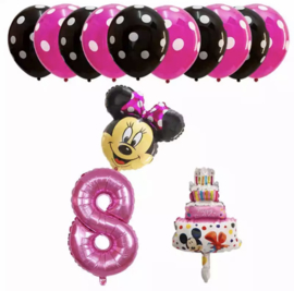 Minnie Mouse ballon set ROZE 8 jaar (13-delig)