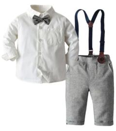 Jongens outfit met bretels en strik - effen (4-delig)