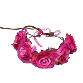 Haarband roosjes pink