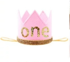 Haarband kroon roze/goud ONE vilt