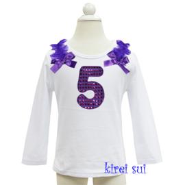Verjaardag shirt - paars glitter, getal t 1/m 6