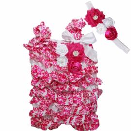 Jumpsuit Barok Wit & Roze + haarband