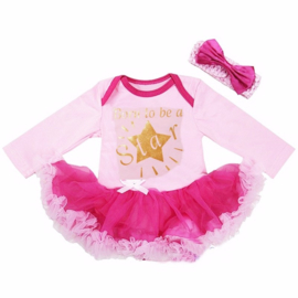 Babyjurk Born to be a Star roze pink lang/korte mouw + haarband