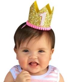 Haarband kroon goud 1 jaar *