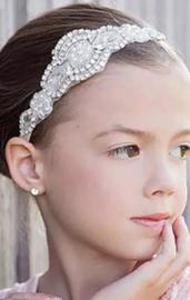 Haarband strass en parels, wit