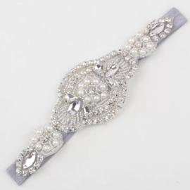 Haarband steentjes/parels, zilver