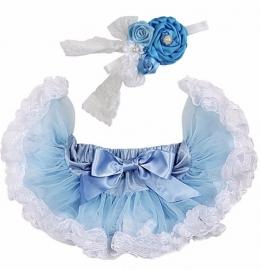 Pettiskirt Blauw/kant wit + haarband