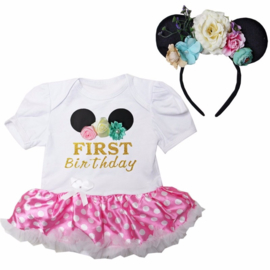 Minnie Mouse First Birthday + diadeem Minnie Mouse