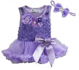 Jurk met roosjes LUXE lavendel + haarband, lange/zonder mouw