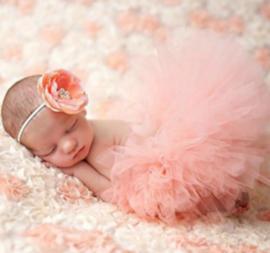Newborn tutu peach +  bloem haarband