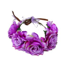 Haarband roosjes paars