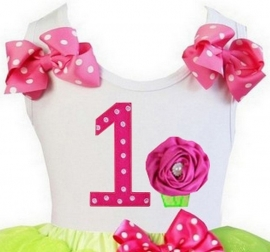 Top 1 jaar stippen pink lemon cupcake