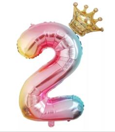 Folie Ballon met kroon + cijfer 2 - regenboog