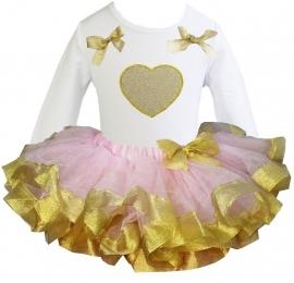Tutu set goud/roze hart