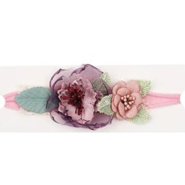 Haarband bloemen ROZE/PAARS