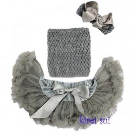 Pettiskirt + gehaakte top zilver + haarband