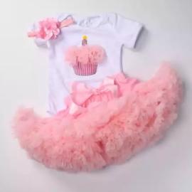 Verjaardag set Cupcake  + haarband (3-delig)