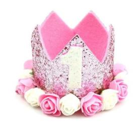 Haarband kroon glitter roze 1 jaar