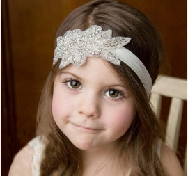 Haarband wit met steentjes