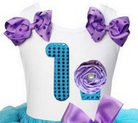 Top 1 jaar glitter aqua lavendel cupcake