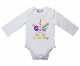 Unicorn verjaardag romper First Birthday