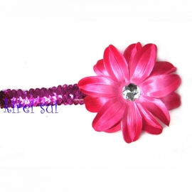 Haarband glitter pink bloem