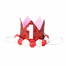 Haarband kroon rood 1 jaar