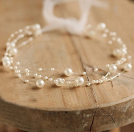 Baby haarband parels, beige