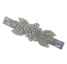 Haarband zilver met steentjes