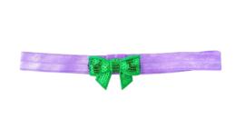 Haarband strik klein, paars/groen