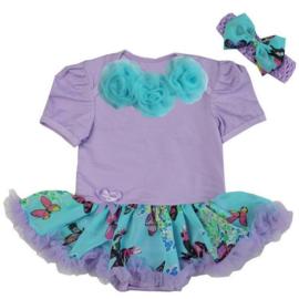 Babyjurk rozetten lavendel/aqua vlinders + haarband