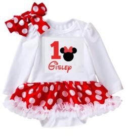 Minnie Mouse 1 jaar + NAAM (2-delig)