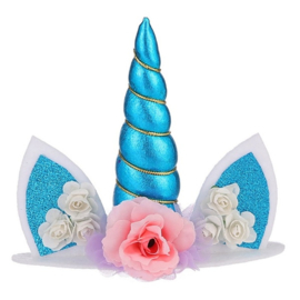Unicorn taarttopper blauw