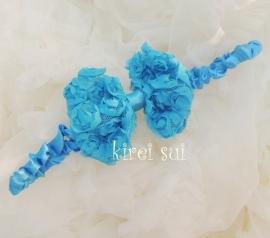 Haarband strik roosjes blauw