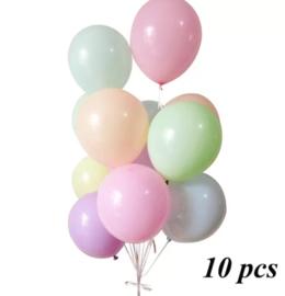 Pastelkleuren ballonnen 10 stuks