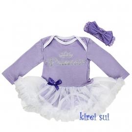 Babyjurk 'Princess' lavendel lang/korte mouw + haarband