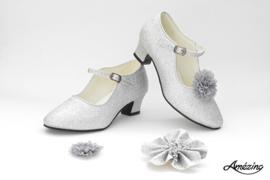 Prinses schoenen ZILVER GLITTER + 2 gratis bloemclips en 1 haarbloem