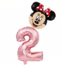 Folie Ballon Minnie Mouse + cijfer 2