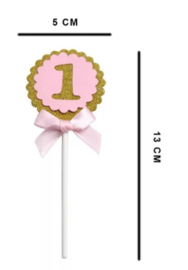 Cake toppers 1 jaar roze