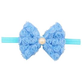 Haarband strik roosjes blauw met parel