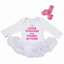 Babyjurk Little Princess Has Finally Arrived wit + haarclip kroon