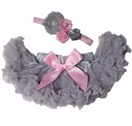 Pettiskirt Light Grey/roze + haarband
