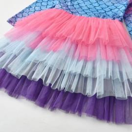 Feestjurk Mermaid roze/paars, lange mouw