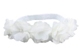 Haarband Kant met bloemen WIT