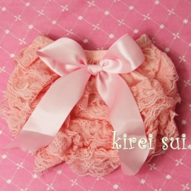 Luierbroekje kant roze/roze strik